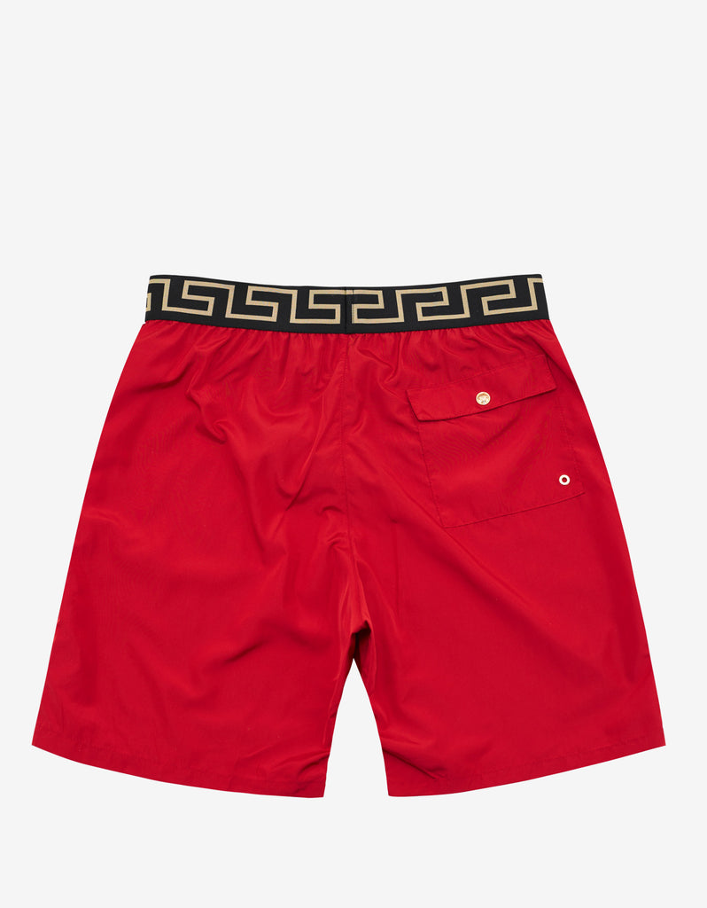 Red Greek Pattern Long Swim Shorts