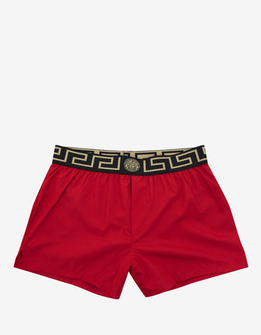 Versace Gym Red Greek Pattern Swim Shorts