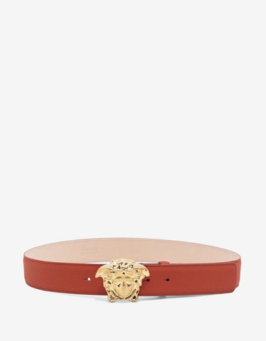 Versace Vermilion Red Grain Leather Medusa Buckle Belt