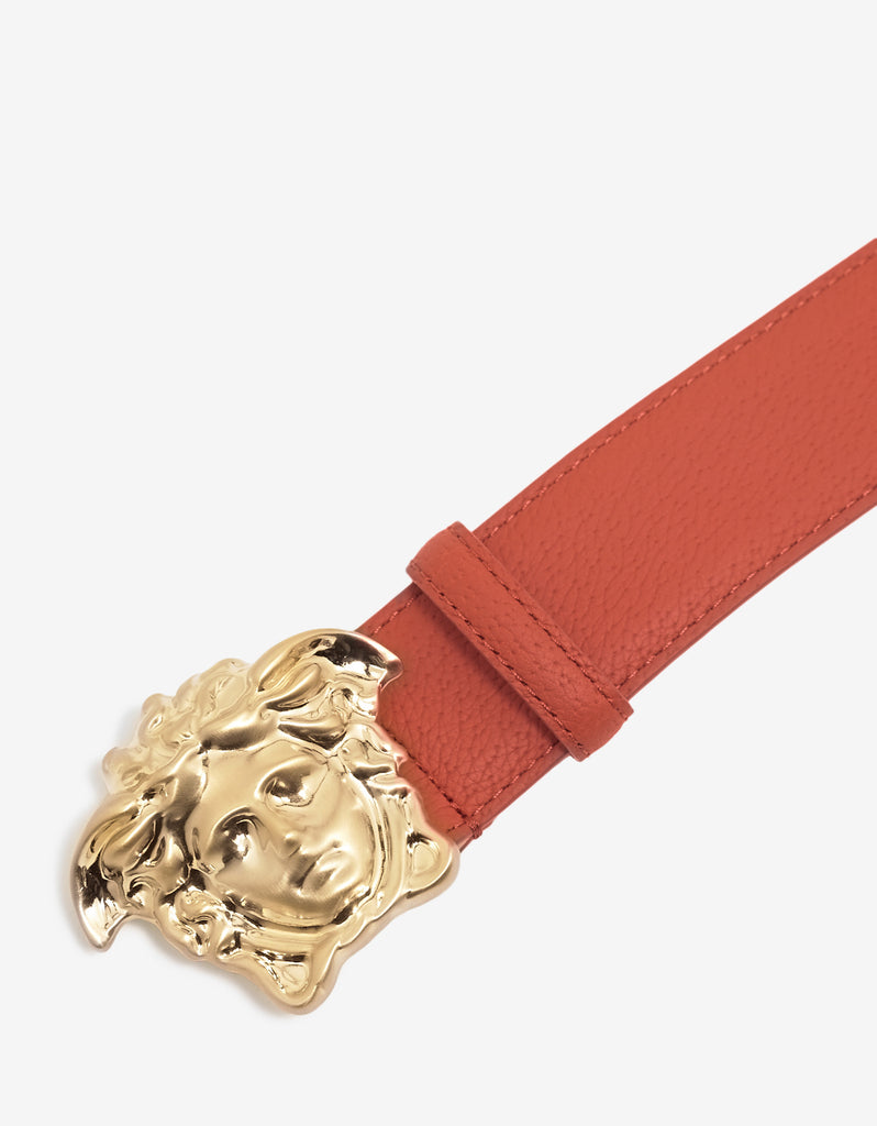 Vermilion Red Grain Leather Medusa Buckle Belt