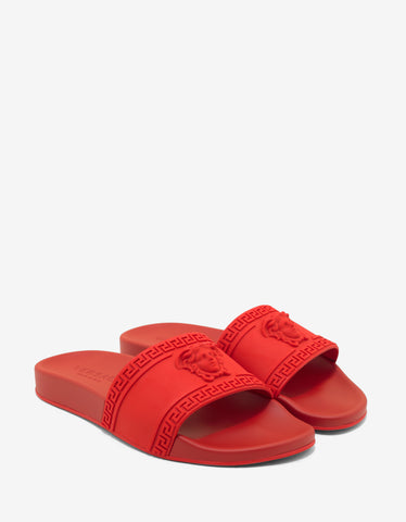 Versace Red Medusa Embossed Slide Sandals