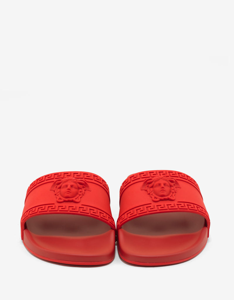 Red Medusa Embossed Slide Sandals