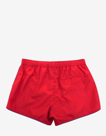 Versace Gym Red Swim Shorts with Medusa Badge