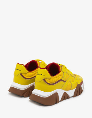 Squalo Yellow Leather & Mesh Trainers