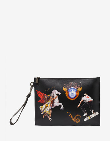Versace Triptych Print Elements Black Leather Pouch