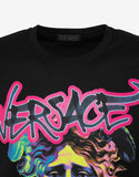Black Graffiti Medusa Print T-Shirt