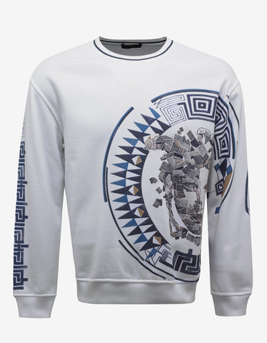 Versace White Sweatshirt with Large Offset Medusa Head