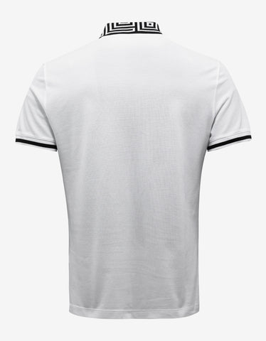 Versace White Polo T-Shirt with Black Greca Trim