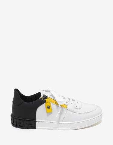 Versace White Contrast Panel Trainers with Zip