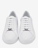 White Embossed Tennis Low Trainers