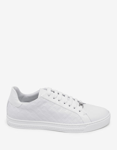 Versace White Embossed Tennis Low Trainers
