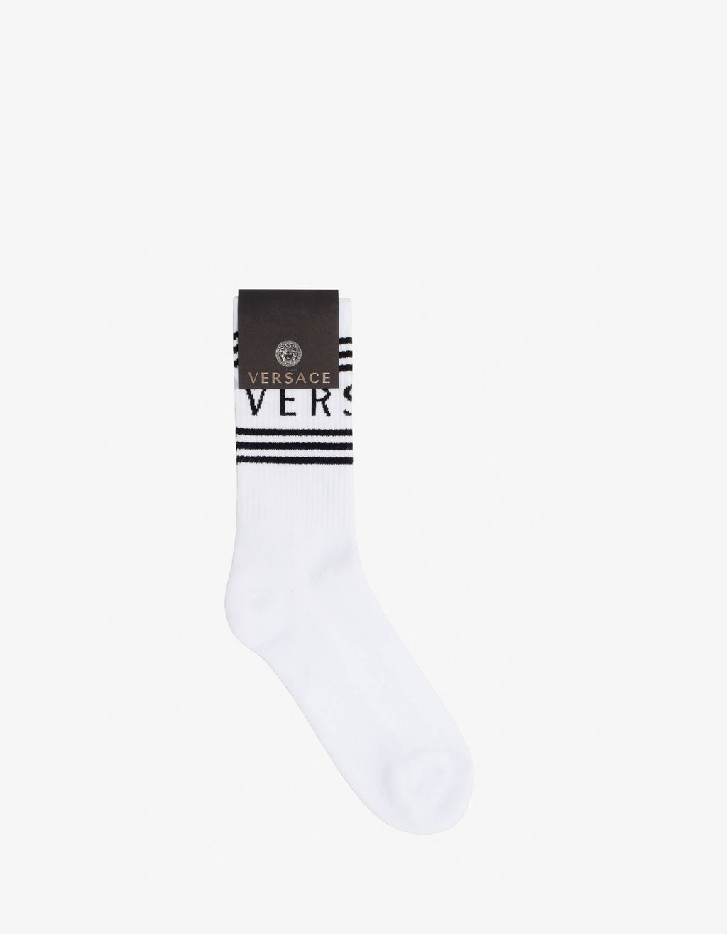 White Jacquard Logo Socks