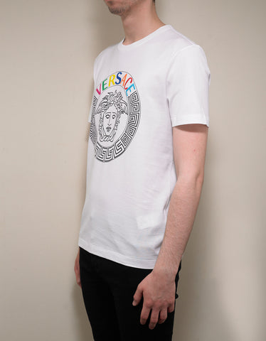 Versace White T-Shirt with Multicolour Medusa Logo