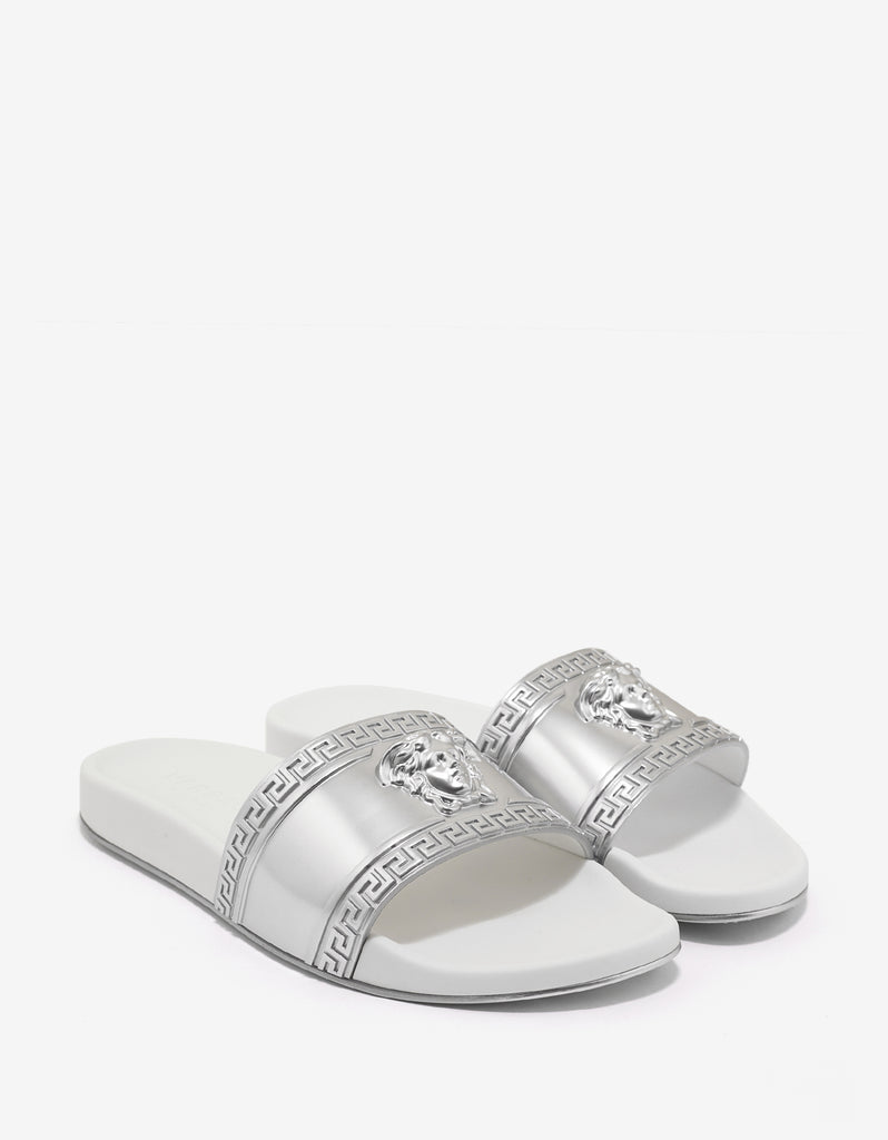 Silver & White Medusa Embossed Slide Sandals