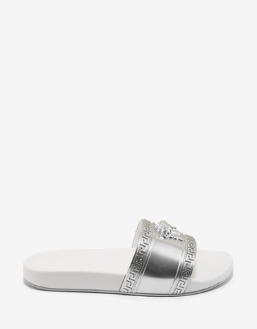 Versace Silver & White Medusa Embossed Slide Sandals