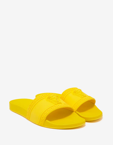 Empire Yellow Medusa Embossed Slide Sandals