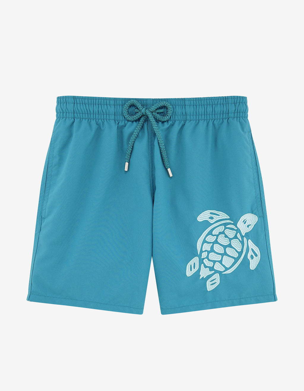 Prussian Blue Turtle Embroidery Motu Swim Shorts