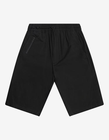 Black Basket Swinger Shorts with Tonal Embroidery