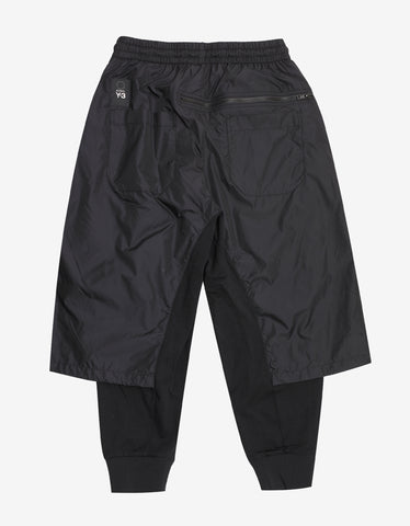 Y-3 Black Nylon Panel Sweat Pants