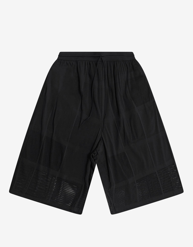 Black Patchwork Mesh Shorts