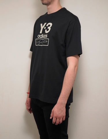 Y-3 Black Stacked Logo Print T-Shirt