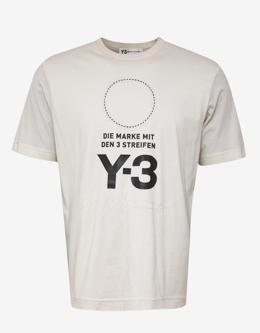 Y-3 Cream Logo Print Oversized T-Shirt