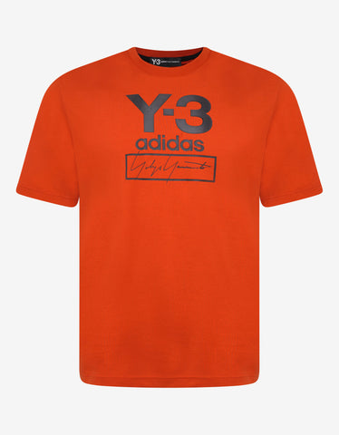 Y-3 Orange Stacked Logo Print T-Shirt