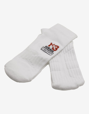 Y-3 White Logo Embroidery Socks