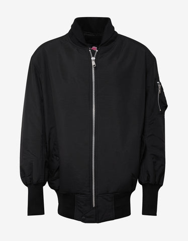 Black Reversible Oversized Bomber Jacket