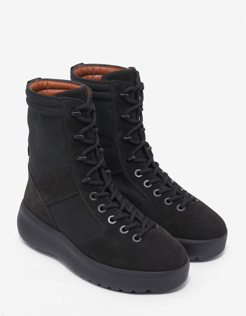 Onyx Shade Black Nylon & Suede Military Boots