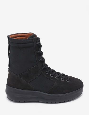 Yeezy Onyx Shade Black Nylon & Suede Military Boots
