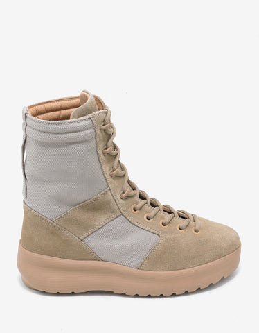 Yeezy Rock Beige Nylon & Suede Military Boots