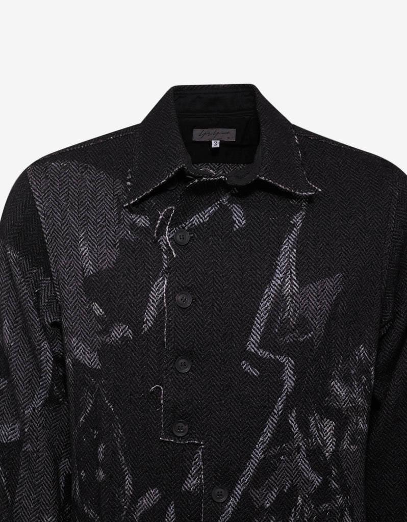 Black Herringbone Printed Overcoat
