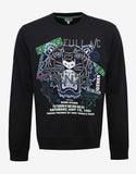 Black Tiger & Flyer Graphic Sweatshirt