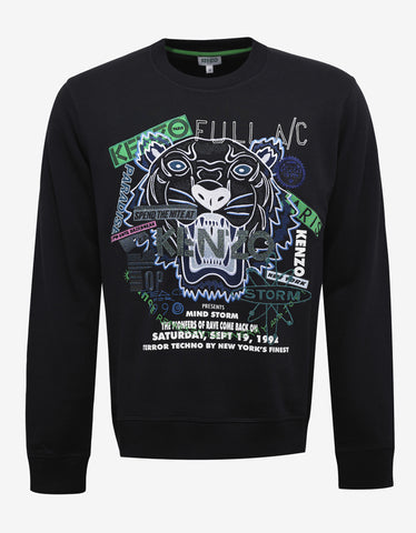 Kenzo Black Tiger & Flyer Graphic Sweatshirt