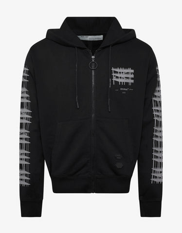 Black Diagonal Sleeve Industrial Arrows Zip Hoodie