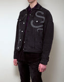 Black Glitter Snake Oversized Trucker Jacket