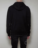 Black Medallion Print Mesh Panel Hoodie