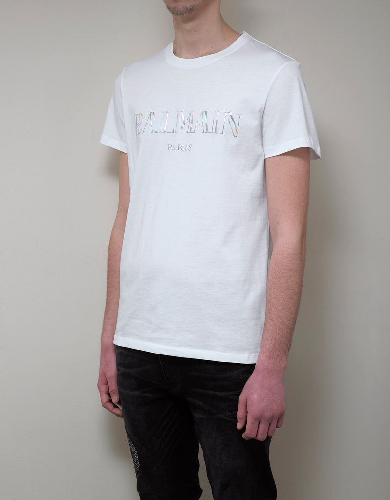 White T-Shirt with Holographic Balmain Logo