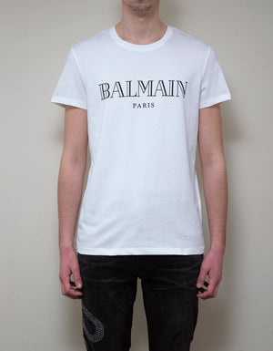 White T-Shirt with Black Balmain Logo