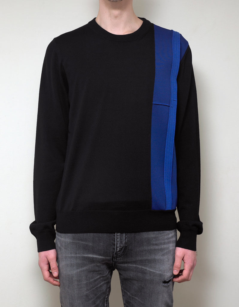 Black Contrast Trim Wool Sweater
