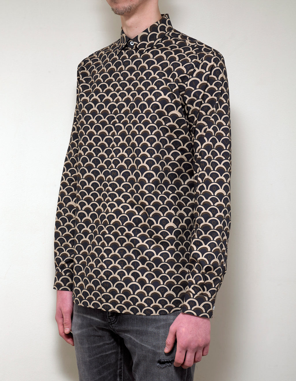 Black & Beige Logo Scale Print Shirt