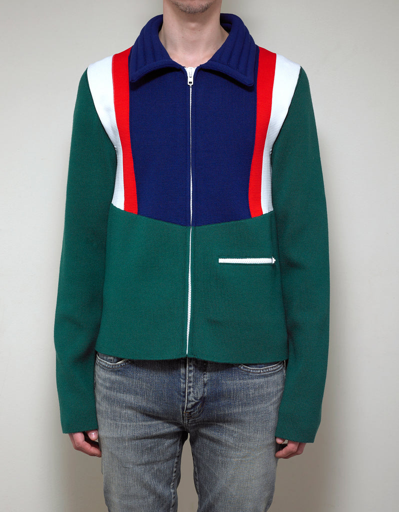 Colour Block Panel Zip-Up Knitwear