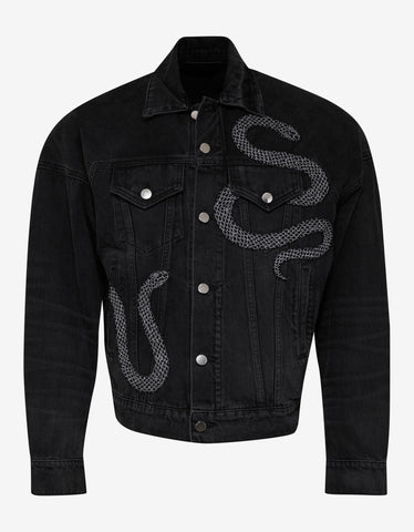 Amiri Black Glitter Snake Oversized Trucker Jacket