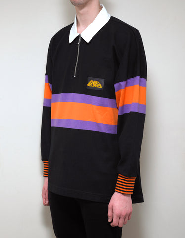Palm Angels Black Striped Hiking Polo T-Shirt