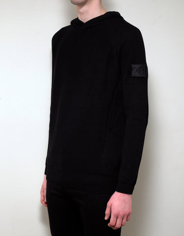 Stone Island Shadow Project Black Ribbed Knitted Hoodie