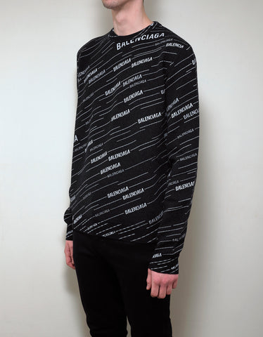 Balenciaga Black All-Over Logo Jacquard Sweater