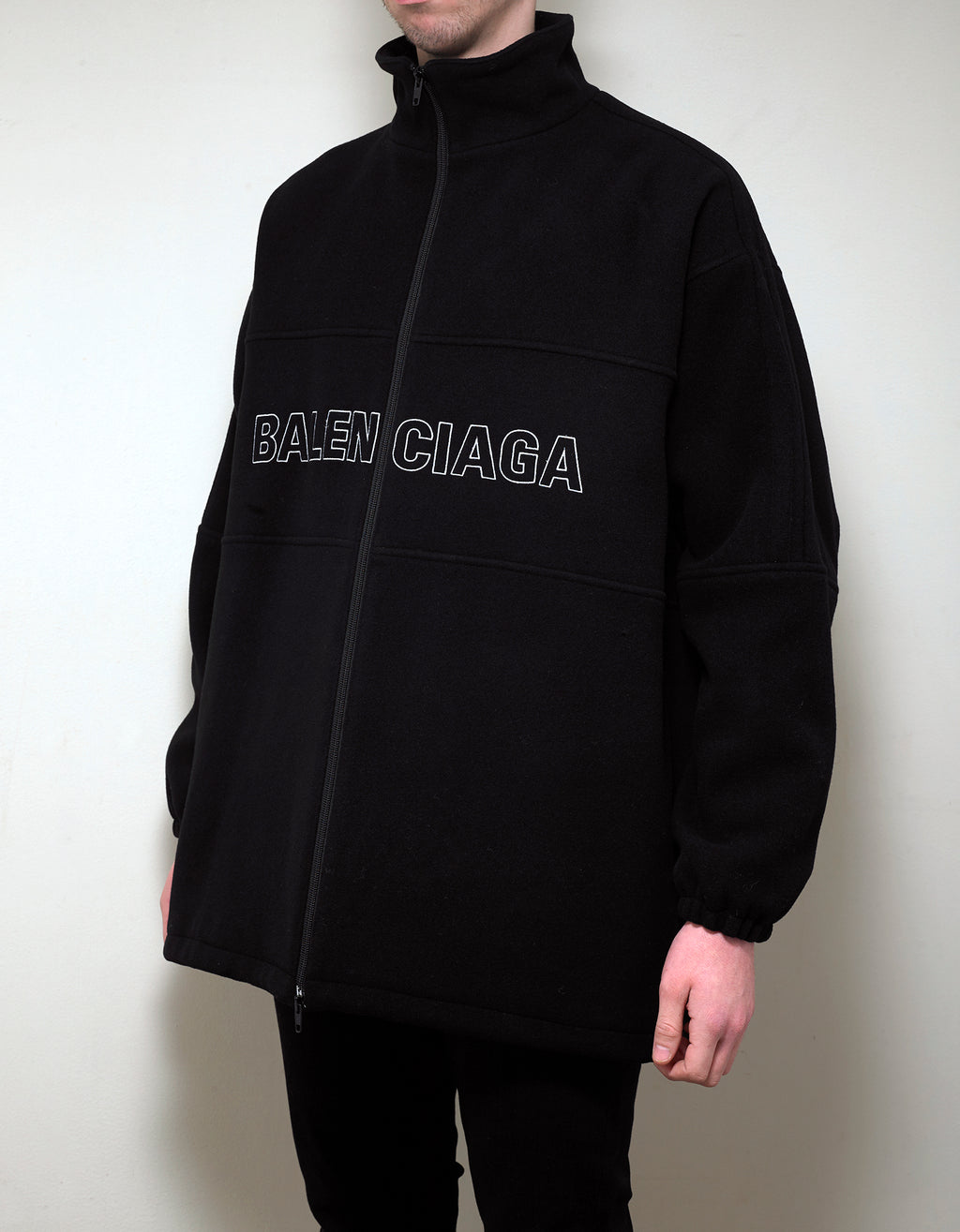 Black Logo Oversized Tracksuit Jacket