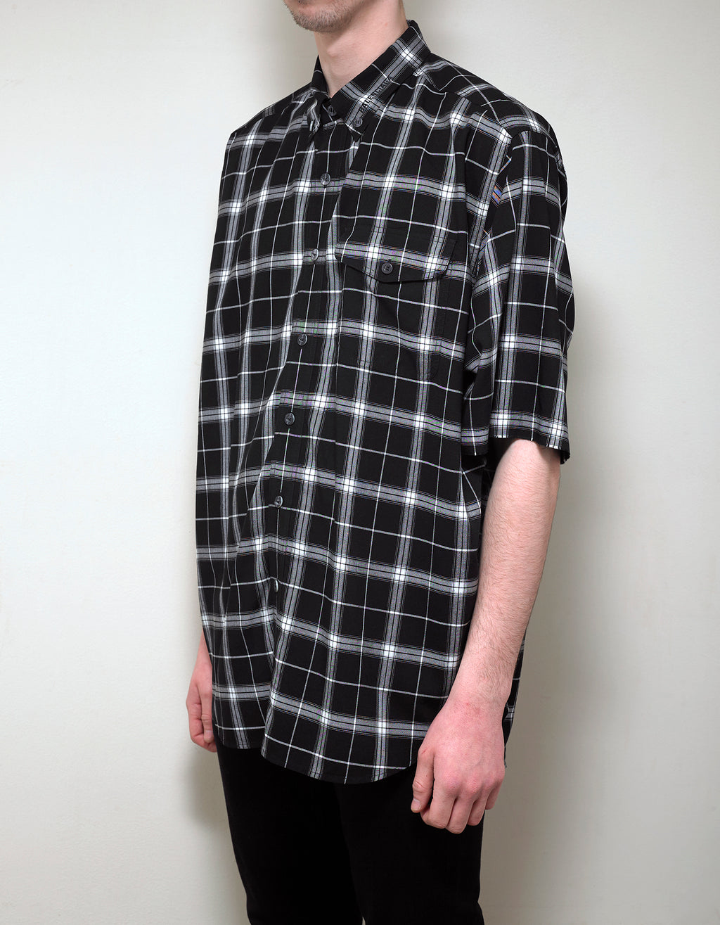 Black Oversized Check Shirt