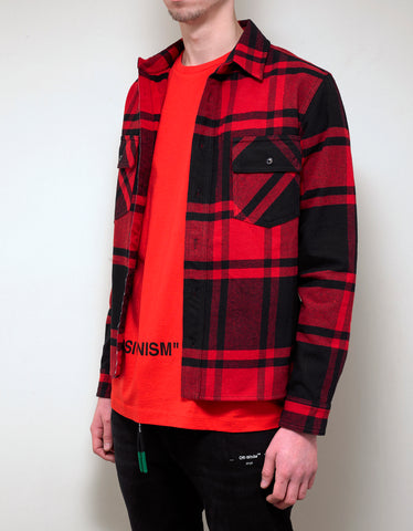 Off-White Red & Black Stencil Arrows Print Flannel Shirt